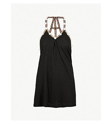 PITUSA 聚甲醛对比修剪弹力平纹针织连衣裙 (黑色