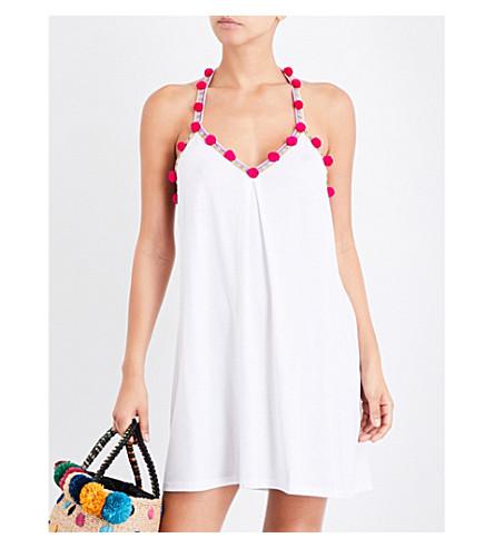 PITUSA Pom Pom pima cotton-blend mini dress (White