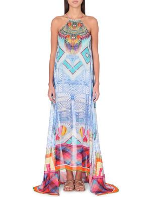 CAMILLA Dragons fairies overlay silk dress
