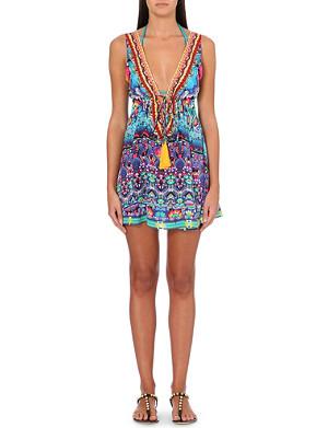 CAMILLA Printed silk beach dress