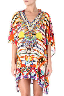 CAMILLA Hooded silk kaftan
