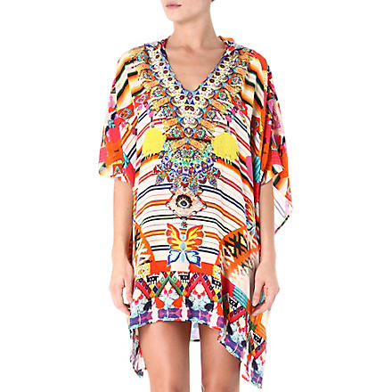 CAMILLA Hooded silk kaftan (Manta