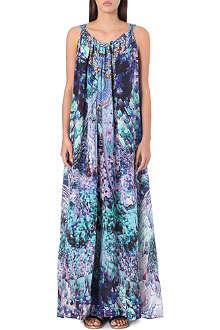 CAMILLA Abstract print drawstring maxi dress