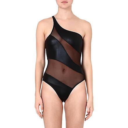 NORMA KAMALI Foil Snake Mio swimsuit (Black/black