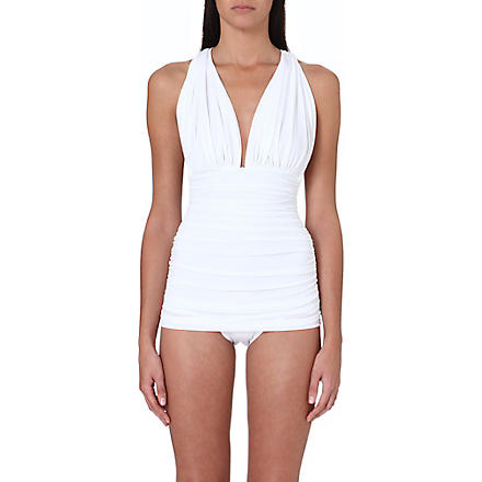 NORMA KAMALI Halter Bill jersey swimsuit (White