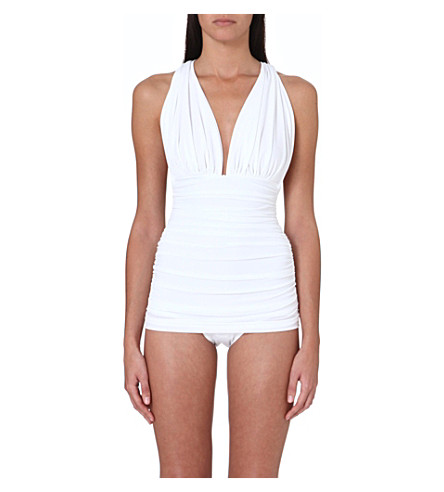 NORMA KAMALI Halter Bill jersey swimsuit (White