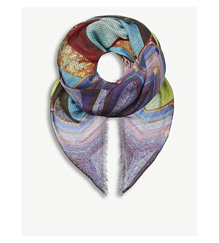 MARY KATRANTZOU Sequin stripe cashmere-blend scarf (Sequin+stripe