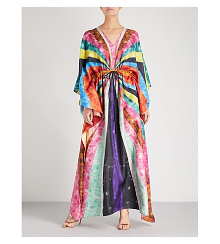 MARY KATRANTZOU Sequin striped-print silk-twill kaftan (Sequin+stripe