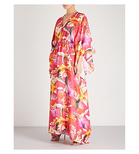 MARY KATRANTZOU Toucan silk-twill kaftan (Toucan+fuschia