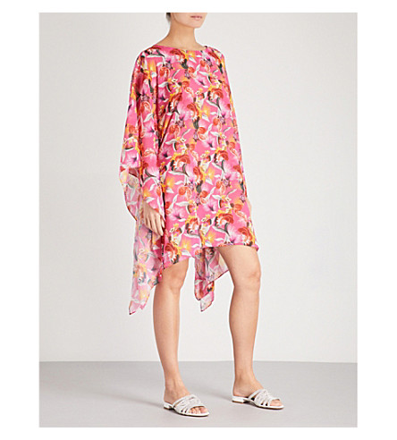 MARY KATRANTZOU Graphic chiffon beach poncho (Toucan+purple