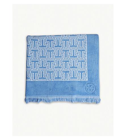 TORY BURCH T-tile cotton beach towel (Blue+bird