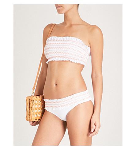TORY BURCH Costa bandeau bikini top (White+orange