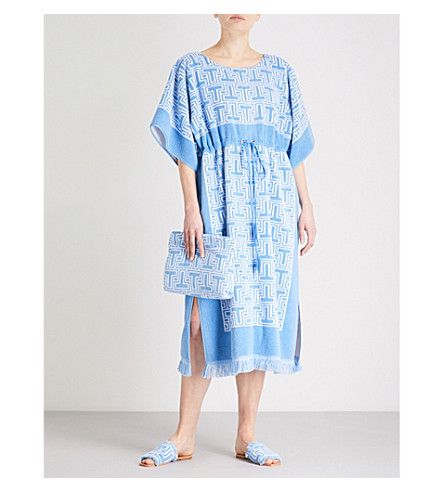 TORY BURCH Logo towelling dress (Blue
