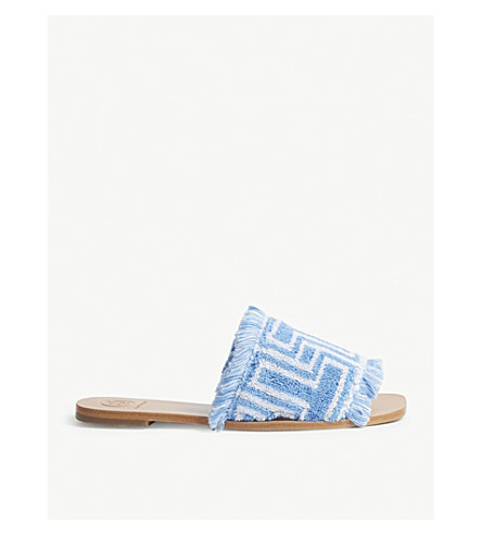 TORY BURCH T-print towel flat sliders (Blue+ivory