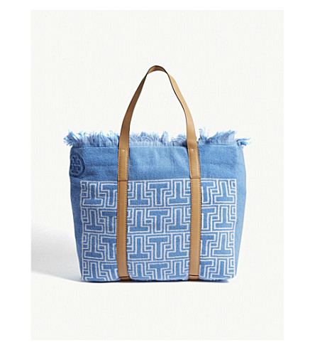 TORY BURCH 'T' tile terry cloth tote (Blue