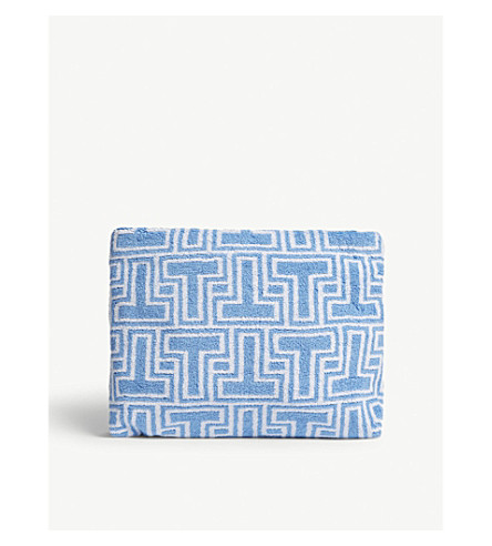 TORY BURCH Printed towelling cosmetics case (Blue