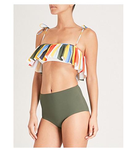 TORY BURCH Tie-dye Balloon Flounce bikini top (Balloon+stripe