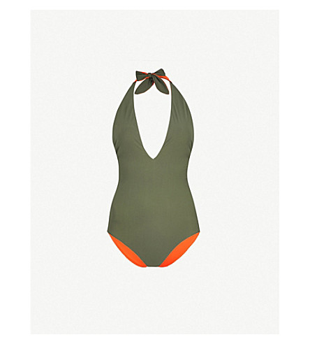 TORY BURCH Biarritz reversible halterneck swimsuit (Green+tangerine