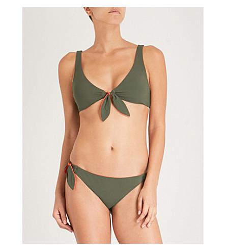 TORY BURCH Biarritz reversible halterneck bikini top (Green+tangerine