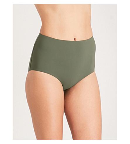 TORY BURCH Marina high-rise bikini bottoms (Green+olive