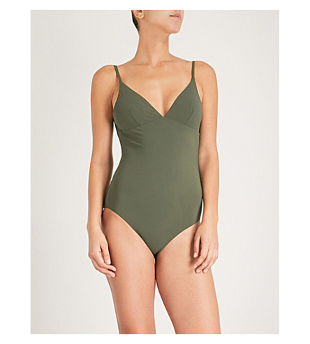 TORY BURCH Marina V-neck swimsuit (Green+olive