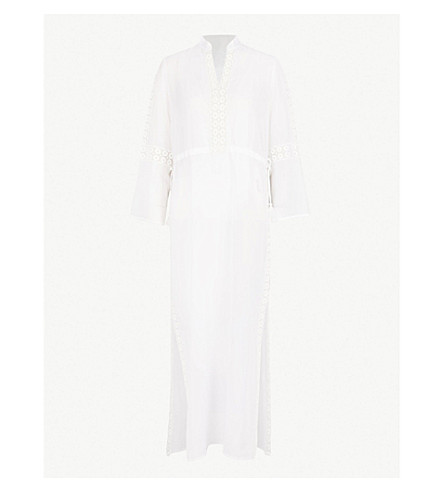 TORY BURCH Lace-trim cotton and silk-blend kaftan (White