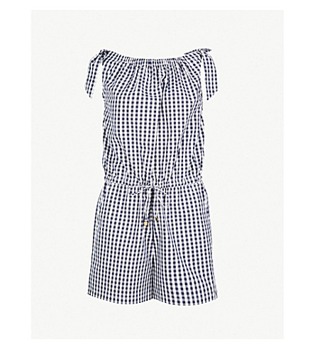 TORY BURCH Gingham-patterned cotton-poplin playsuit (Navy+white