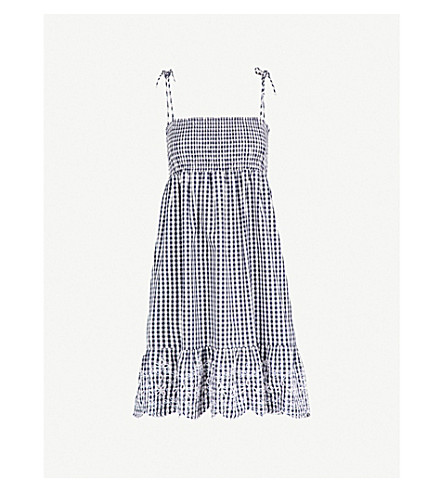 TORY BURCH Gingham-patterned cotton-poplin dress (Navy+white