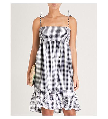 TORY BURCH Gingham-patterned cotton-poplin dress (Navy+white