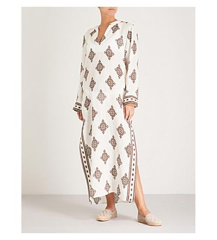 TORY BURCH Diamond-patterned linen kaftan (New+ivory