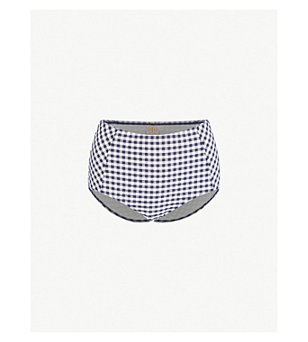 TORY BURCH Gingham-patterned seersucker bikini bottoms (Navy+white