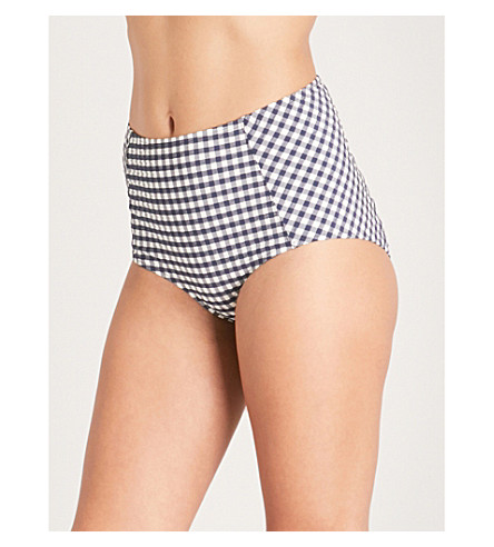 TORY BURCH Gingham-patterned seersucker bikini bottoms (Navy+white