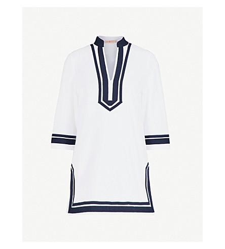 TORY BURCH Contrast-trim cotton-towelling tunic dress (White