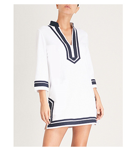 TORY BURCH Contrast-trim cotton-towelling tunic dress (White
