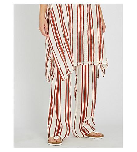 TORY BURCH Kellen wide-leg linen trousers (Desert+stripe