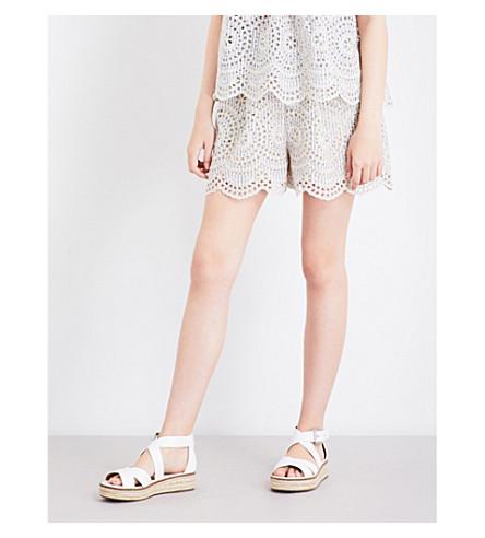 ZIMMERMANN Meridian Stripe broderie anglaise cotton shorts (Blue+stripe