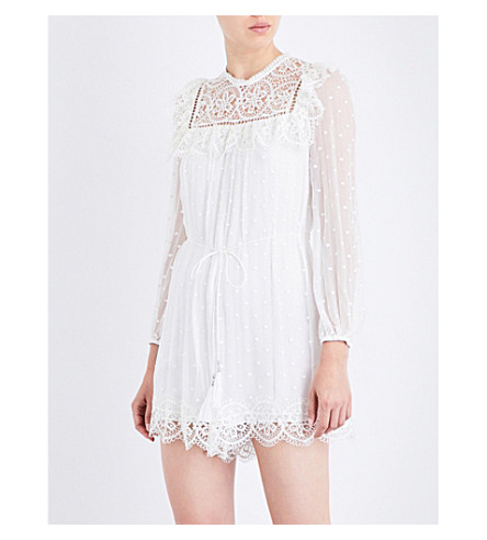 ZIMMERMANN Meridian Circle Lace silk-georgette playsuit (Ivory