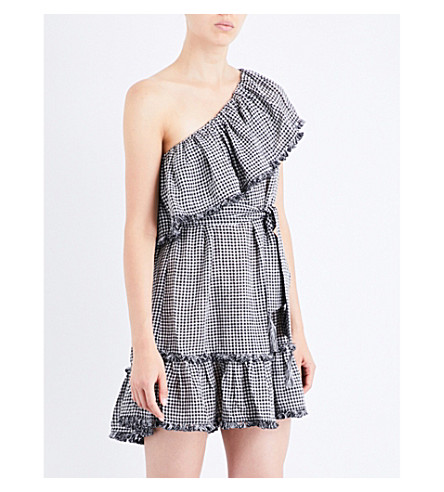 ZIMMERMANN Paradiso Gingham linen and cotton-blend mini dress (Black+check