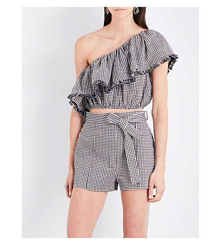 ZIMMERMANN Paradiso Gingham linen and cotton-blend top (Black+check
