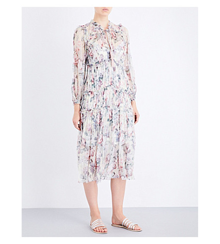 ZIMMERMANN Jasper Floral Ruffle silk-georgette midi dress (Floral