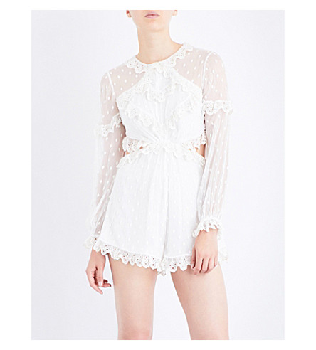 ZIMMERMANN Divinity Scallop Ruffle silk-georgette playsuit (Ivory