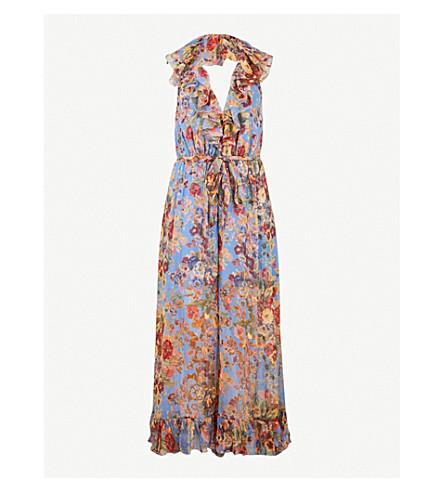ZIMMERMANN Lovelorn ruffled silk-chiffon jumpsuit (Blue+floral