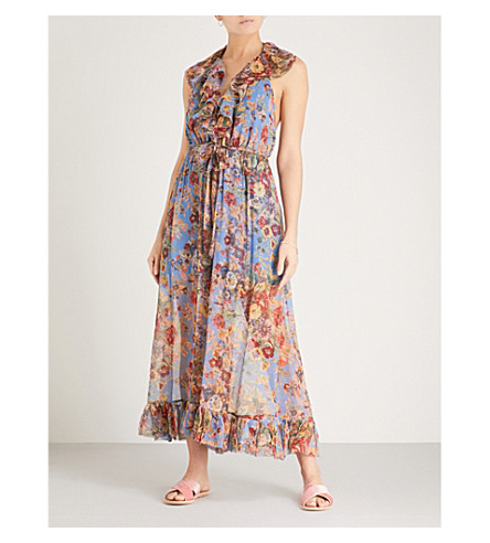 ZIMMERMANN Lovelorn ruffled silk-chiffon jumpsuit (Blue+floral