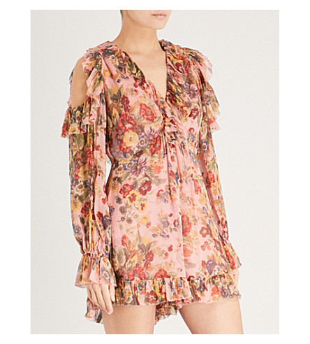 ZIMMERMANN Lovelorn Frill silk-georgette playsuit (Pink+floral