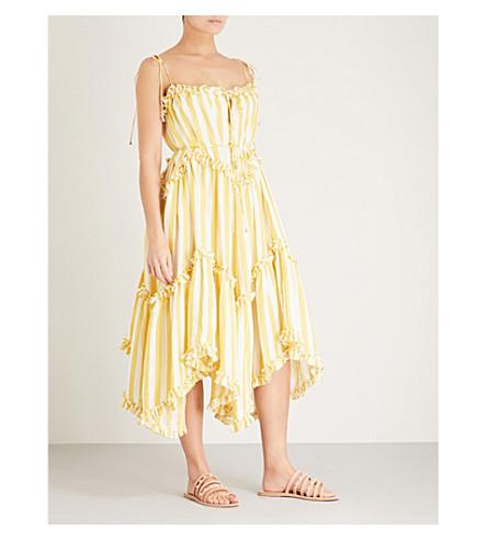 ZIMMERMANN Lumino Floating striped linen midi dress (Yellow+stripe