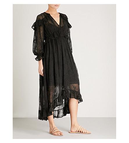 ZIMMERMANN Loverlorn Cape shoulder silk-georgette dress (Noir