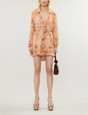 Zinnia floral-print silk-georgette playsuit