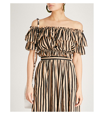 ZIMMERMANN Jaya striped off-the-shoulder cotton cropped top (Stripe