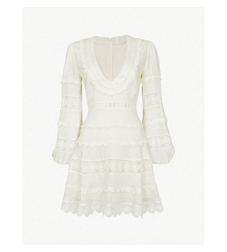 ZIMMERMANN Castile plunge short linen dress (Ivory