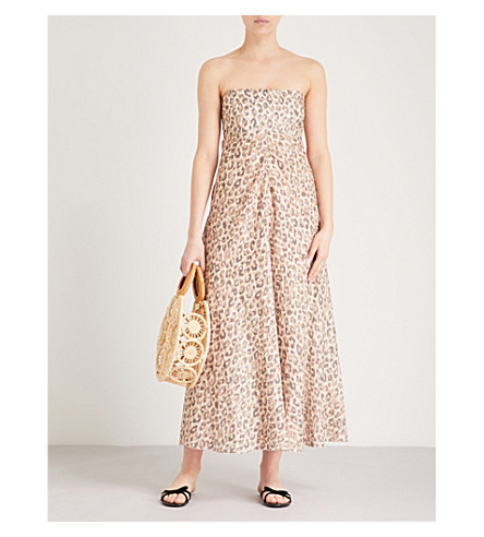 ZIMMERMANN Melody leopard-print linen midi dress (Leopard